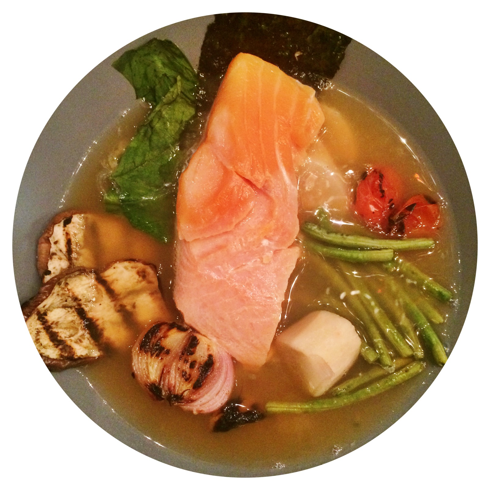 sinigang with salmon mi-cuit: a modernist twist on the filipino sour